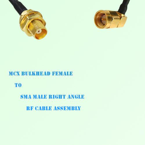 MCX Bulkhead Female to SMA Male Right Angle RF Cable Assembly
