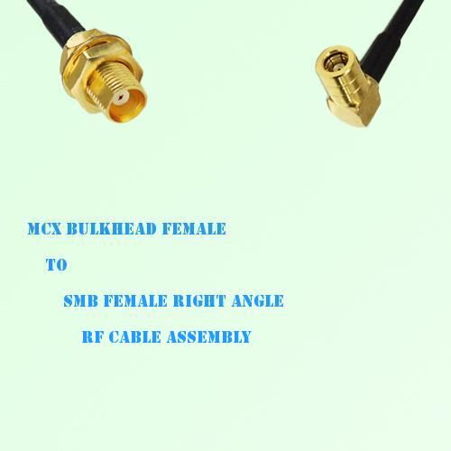 MCX Bulkhead Female to SMB Female Right Angle RF Cable Assembly