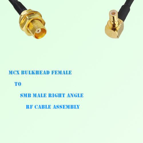 MCX Bulkhead Female to SMB Male Right Angle RF Cable Assembly