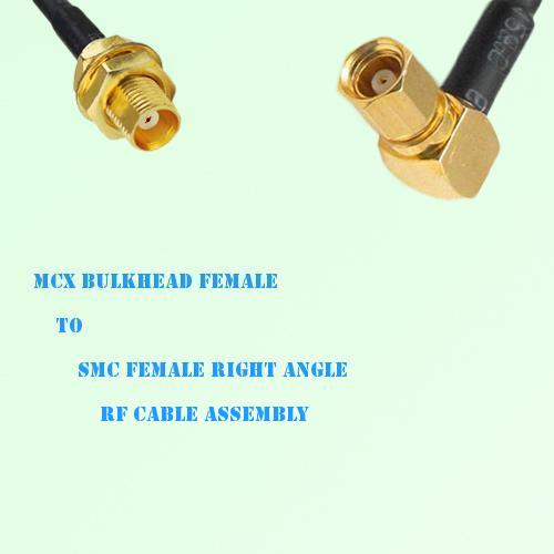 MCX Bulkhead Female to SMC Female Right Angle RF Cable Assembly