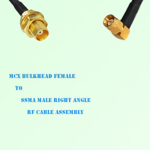 MCX Bulkhead Female to SSMA Male Right Angle RF Cable Assembly