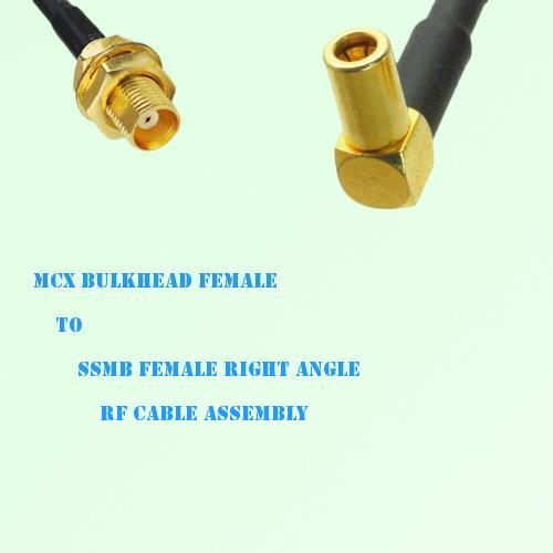 MCX Bulkhead Female to SSMB Female Right Angle RF Cable Assembly
