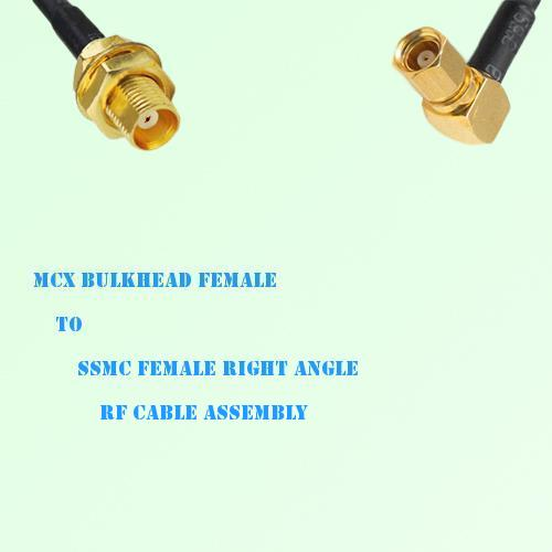 MCX Bulkhead Female to SSMC Female Right Angle RF Cable Assembly