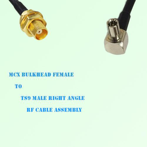 MCX Bulkhead Female to TS9 Male Right Angle RF Cable Assembly