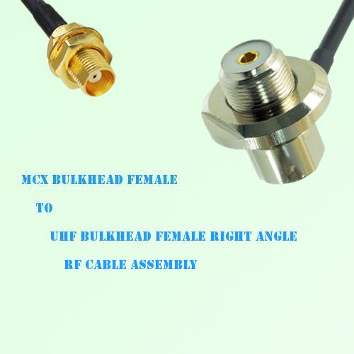 MCX Bulkhead Female to UHF Bulkhead Female R/A RF Cable Assembly