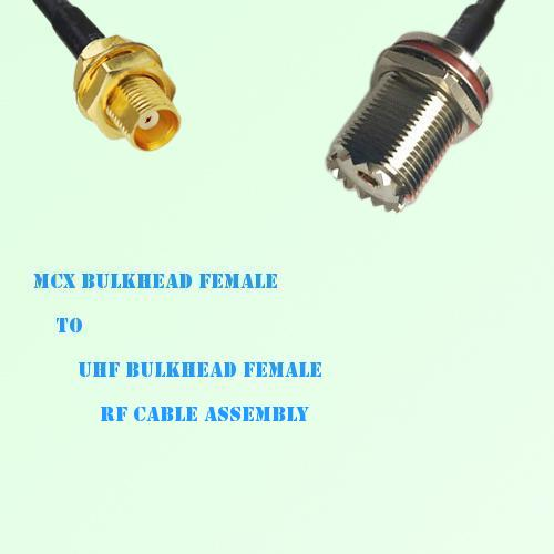 MCX Bulkhead Female to UHF Bulkhead Female RF Cable Assembly