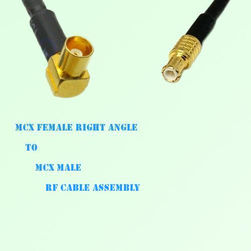 MCX Female Right Angle to MCX Male RF Cable Assembly