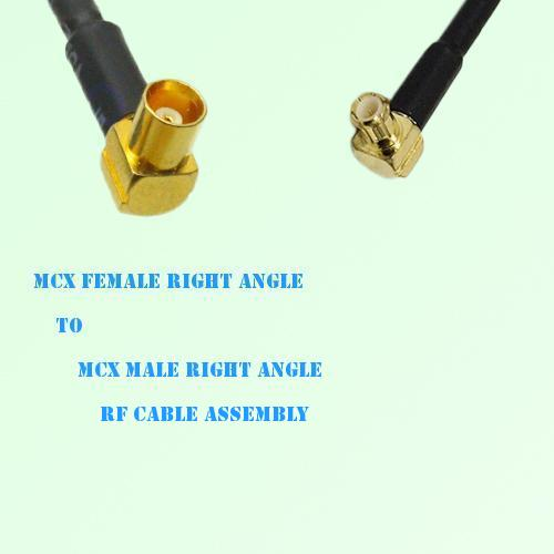 MCX Female Right Angle to MCX Male Right Angle RF Cable Assembly