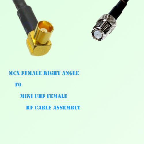 MCX Female Right Angle to Mini UHF Female RF Cable Assembly