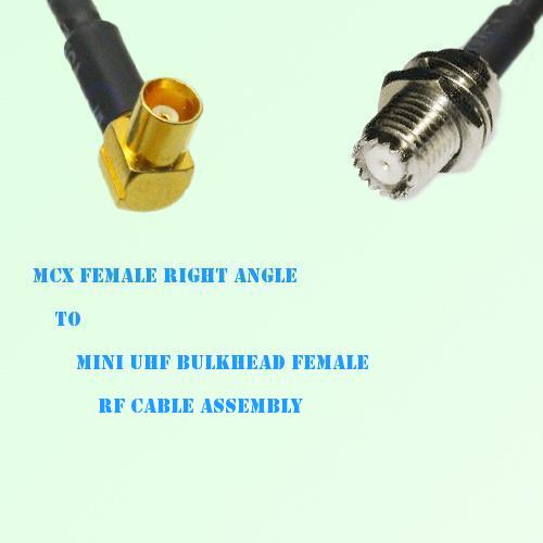 MCX Female Right Angle to Mini UHF Bulkhead Female RF Cable Assembly