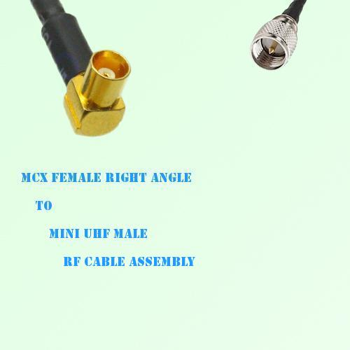 MCX Female Right Angle to Mini UHF Male RF Cable Assembly