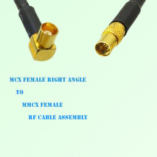MCX Female Right Angle to MMCX Female RF Cable Assembly