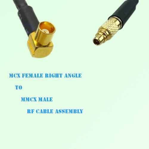 MCX Female Right Angle to MMCX Male RF Cable Assembly