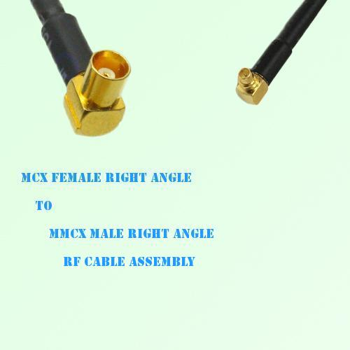 MCX Female Right Angle to MMCX Male Right Angle RF Cable Assembly