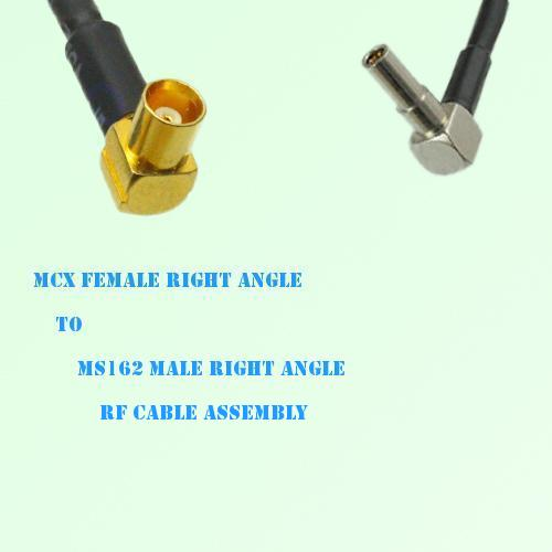 MCX Female Right Angle to MS162 Male Right Angle RF Cable Assembly