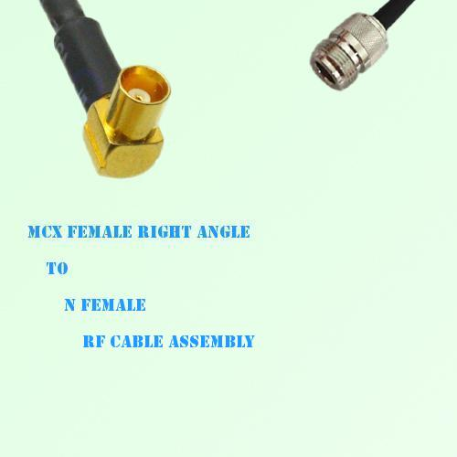 MCX Female Right Angle to N Female RF Cable Assembly