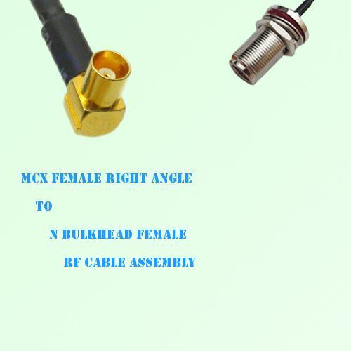 MCX Female Right Angle to N Bulkhead Female RF Cable Assembly