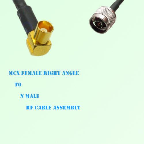 MCX Female Right Angle to N Male RF Cable Assembly
