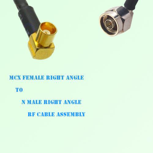 MCX Female Right Angle to N Male Right Angle RF Cable Assembly