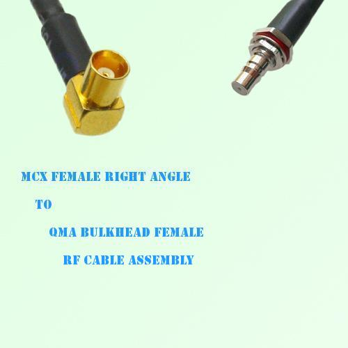 MCX Female Right Angle to QMA Bulkhead Female RF Cable Assembly