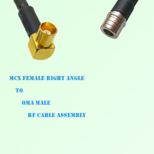 MCX Female Right Angle to QMA Male RF Cable Assembly
