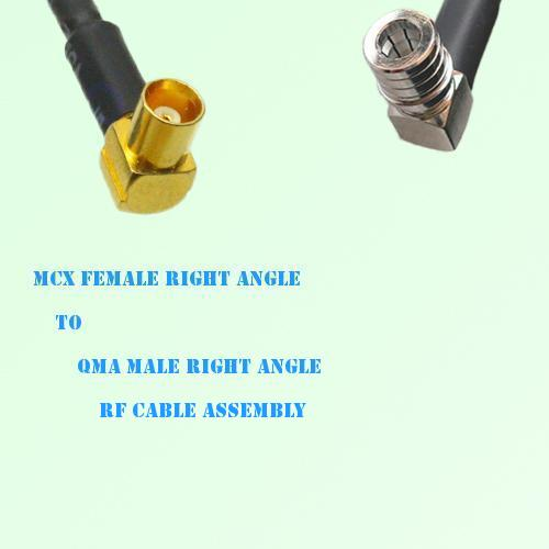 MCX Female Right Angle to QMA Male Right Angle RF Cable Assembly