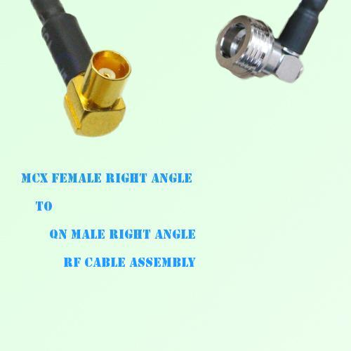 MCX Female Right Angle to QN Male Right Angle RF Cable Assembly