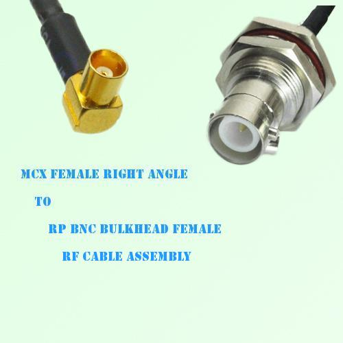 MCX Female Right Angle to RP BNC Bulkhead Female RF Cable Assembly
