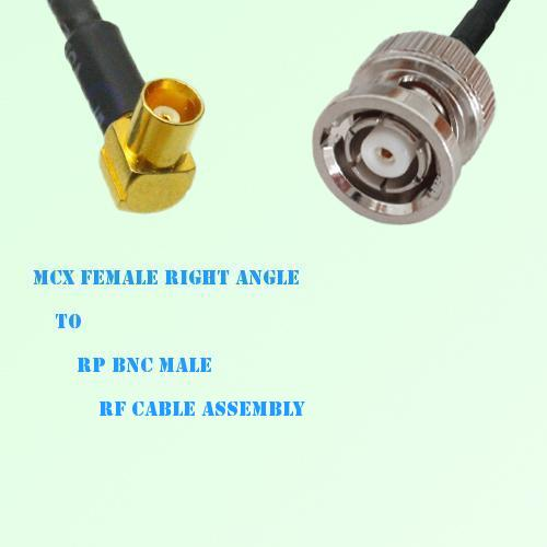 MCX Female Right Angle to RP BNC Male RF Cable Assembly