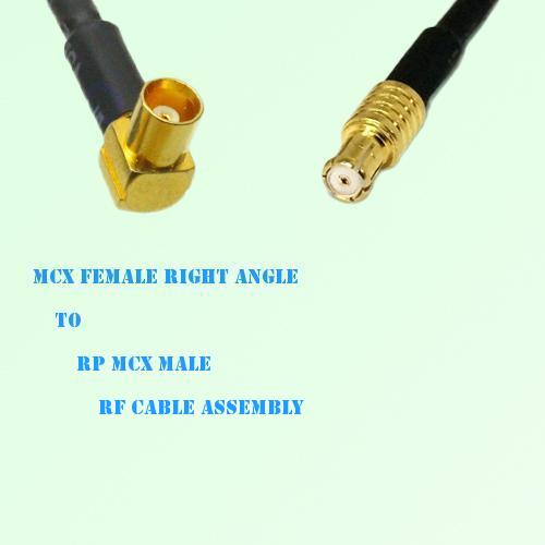 MCX Female Right Angle to RP MCX Male RF Cable Assembly
