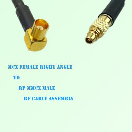 MCX Female Right Angle to RP MMCX Male RF Cable Assembly