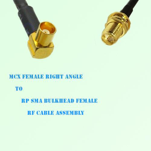 MCX Female Right Angle to RP SMA Bulkhead Female RF Cable Assembly