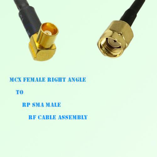 MCX Female Right Angle to RP SMA Male RF Cable Assembly