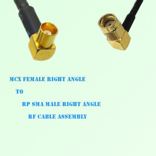 MCX Female Right Angle to RP SMA Male Right Angle RF Cable Assembly