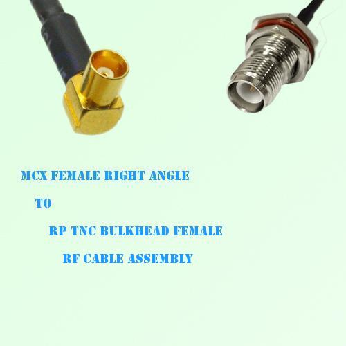MCX Female Right Angle to RP TNC Bulkhead Female RF Cable Assembly