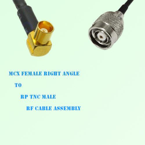 MCX Female Right Angle to RP TNC Male RF Cable Assembly