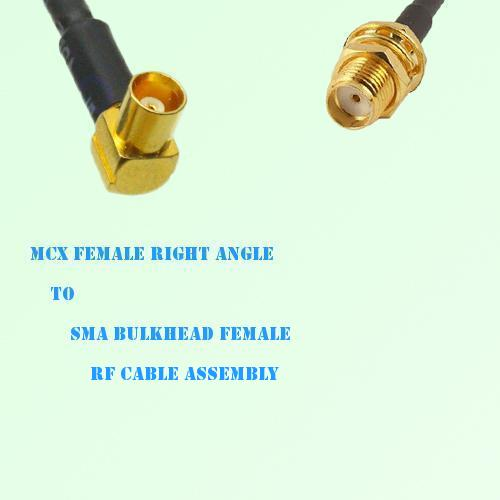 MCX Female Right Angle to SMA Bulkhead Female RF Cable Assembly