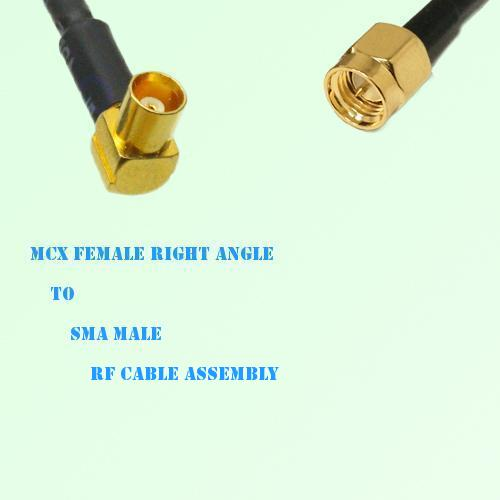 MCX Female Right Angle to SMA Male RF Cable Assembly