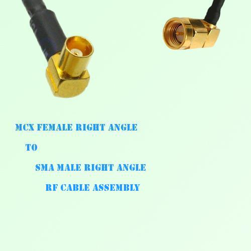 MCX Female Right Angle to SMA Male Right Angle RF Cable Assembly