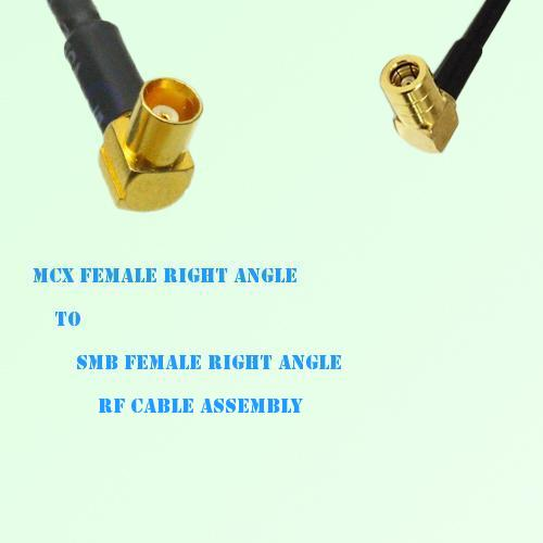 MCX Female Right Angle to SMB Female Right Angle RF Cable Assembly