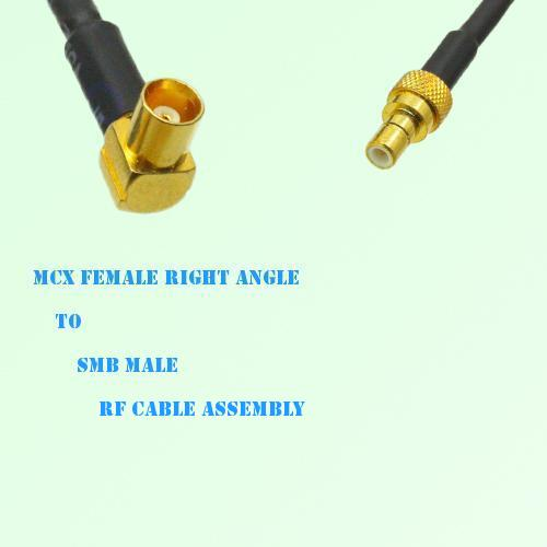MCX Female Right Angle to SMB Male RF Cable Assembly
