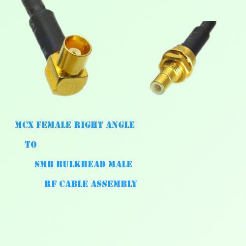 MCX Female Right Angle to SMB Bulkhead Male RF Cable Assembly