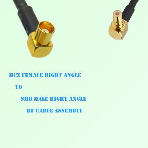 MCX Female Right Angle to SMB Male Right Angle RF Cable Assembly