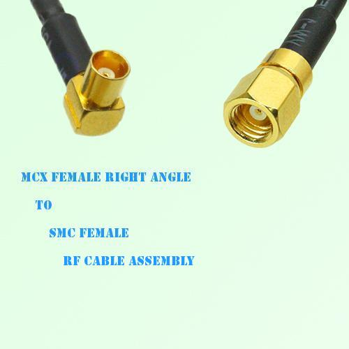 MCX Female Right Angle to SMC Female RF Cable Assembly