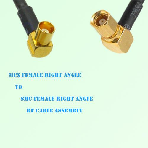 MCX Female Right Angle to SMC Female Right Angle RF Cable Assembly