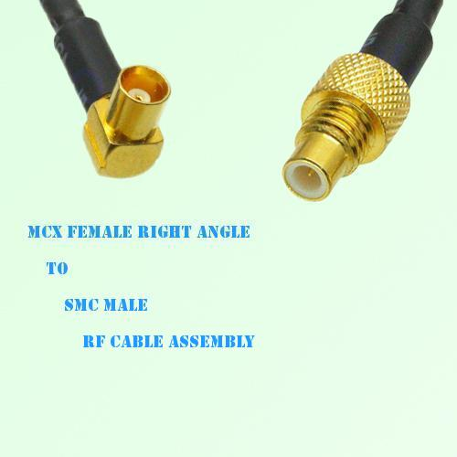 MCX Female Right Angle to SMC Male RF Cable Assembly