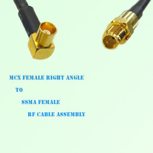 MCX Female Right Angle to SSMA Female RF Cable Assembly