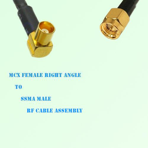 MCX Female Right Angle to SSMA Male RF Cable Assembly