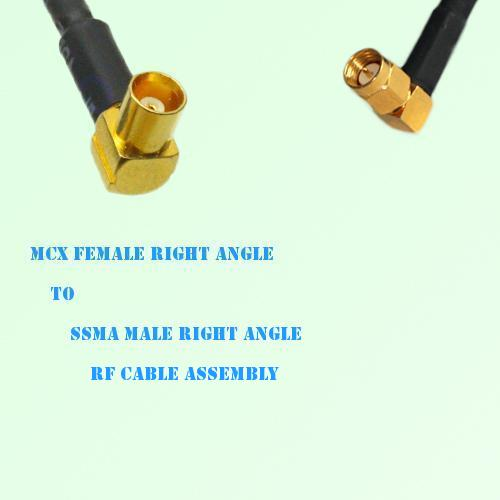 MCX Female Right Angle to SSMA Male Right Angle RF Cable Assembly