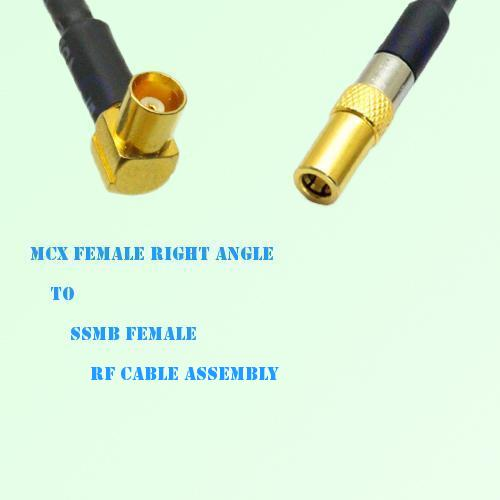 MCX Female Right Angle to SSMB Female RF Cable Assembly